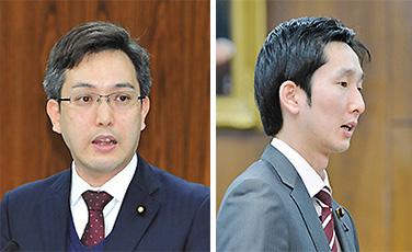 衆院環境委で質問する真山氏(右)と、参院環境委で質問する杉氏=18日
