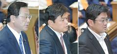 質問する江田、赤羽両氏と、賛成討論を行う吉田氏=16日 衆院予算委