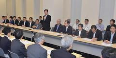 党合同会議であいさつする山口代表=18日 参院議員会館