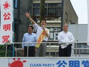 6月27日 徳島・新町橋で