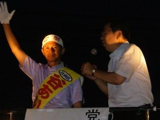 7月10日 岡山・武道館前 マイク納めの街頭演説