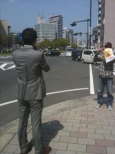 広島市内で街頭演説