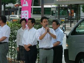 終戦記念街頭遊説に参加…岡山市